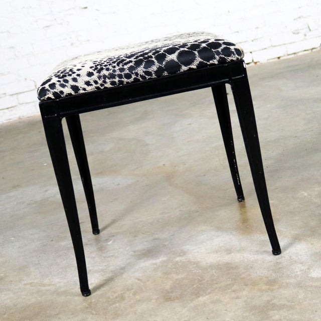 What an awesome Art Deco, well possibly Hollywood Regency, little bench, ottoman, or footstool by Crucible Products Corp....