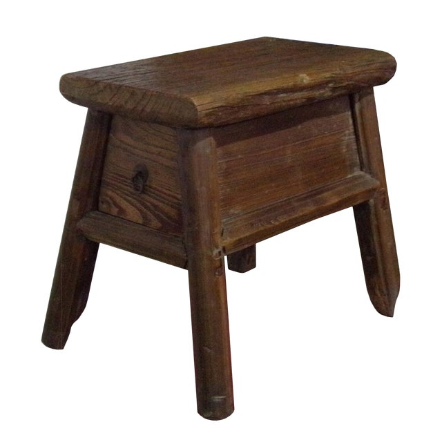 Chinese Raw Wood Rough Finish Accent Single Sitting Stool w Drawer For Sale