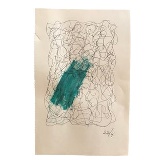 1980s Ings-Britta Mills Abstract Watercolor Drawing For Sale