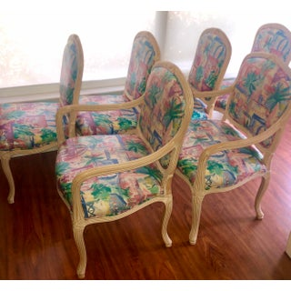 1980s Vintage Vinyl and Wood Art Deco Faux Bois Dining Chairs- Set of 6 Preview