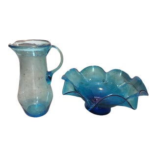 Mid-Century Modern Hand Blown Glass Bowl and Pitcher For Sale