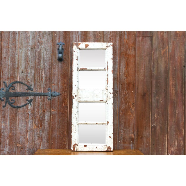 Early 20th Century Antique White Paneled Window Mirror For Sale - Image 5 of 7
