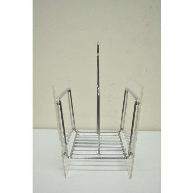 Vintage Mid Century Modern Lucite Chrome Metal Magazine Holder Stand Rack Retro Image 4 Of