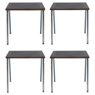 Set of Four French Modernist Square Chrome and Mahogany Tables For Sale