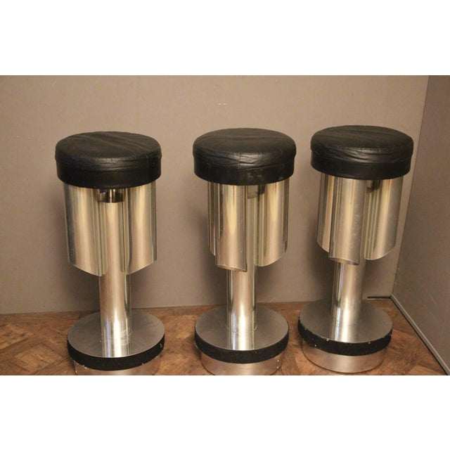 Three Midcentury Italian Bar Stools in Brushed Aluminium and Steel For Sale - Image 6 of 6