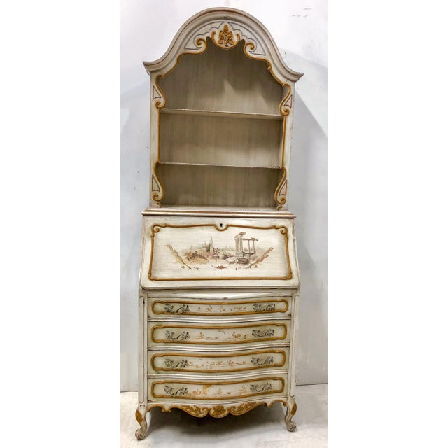 Gold Hand Painted Venetian Secretary For Sale - Image 8 of 9
