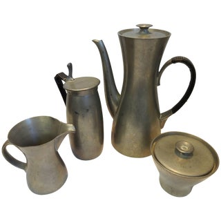 Midcentury Royal Holland Four-Piece Pewter Tea Coffee Set For Sale