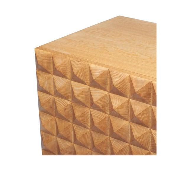 Sabin Custom Rexford Geometic Oak Nightstands - a Pair - Image 3 of 7