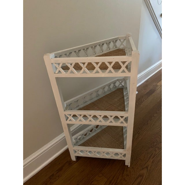 1970s Shabby Chic Corner Lattice Shelf/Plant Stand With Rattan Lining For Sale - Image 5 of 7