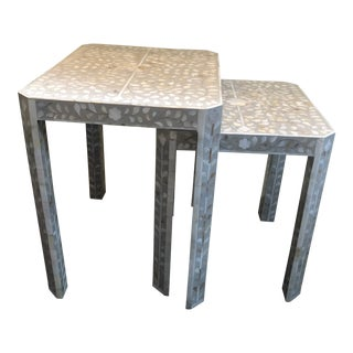 Hollywood Regency Mother of Pearl Nesting Tables - a Pair For Sale