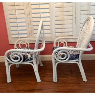 1970s Vintage White and Blue Twisted Rattan Bamboo Palm Beach Regency Boho Style Chairs- a Pair Preview