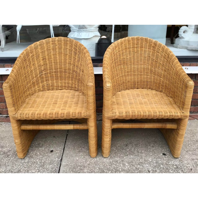 Moderne Rattan Barrel Chairs - a Pair For Sale - Image 4 of 11