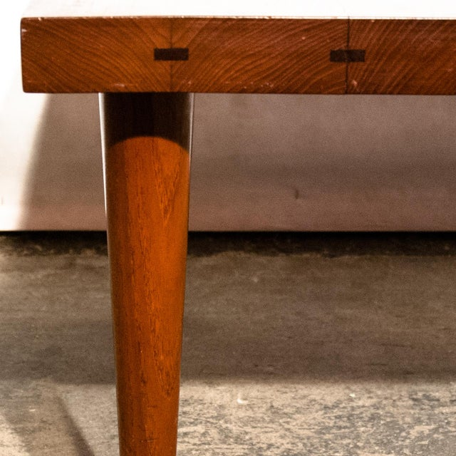 Wood Circa 1960, Denmark, J. Schmidt Inlaid Rosewood and Teak Side Table For Sale - Image 7 of 9