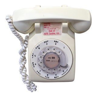Vintage Cream White Rotary Dial Phone For Sale