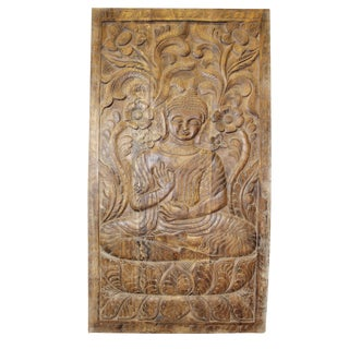 1990s Vintage Hand Carved Buddha Sitting on Lotus Door Panel For Sale