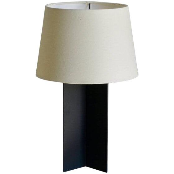 "Contemporary ""Croisillon"" Matte Black Steel and Parchment Lamp For Sale"