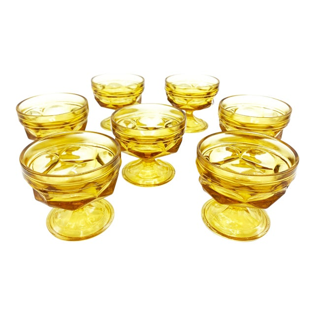 Mid-Century Imperial Glass Amber Glass Goblets - Set of 7 For Sale