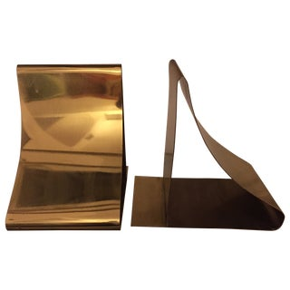 Sarried Brass Curved Bookends For Sale