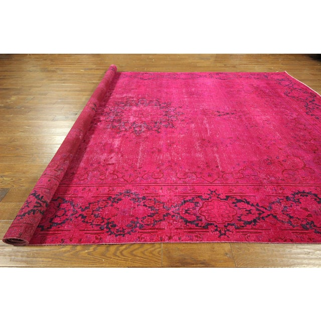 """Pink Overdyed Oriental Floral Rug - 9'6"""" x 14'10"""" - Image 10 of 10"""