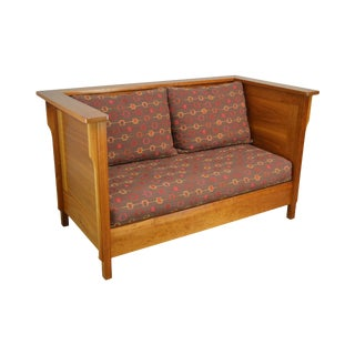 Mission Style Studio Hand Crafted Cherry & Walnut Prairie Settee For Sale