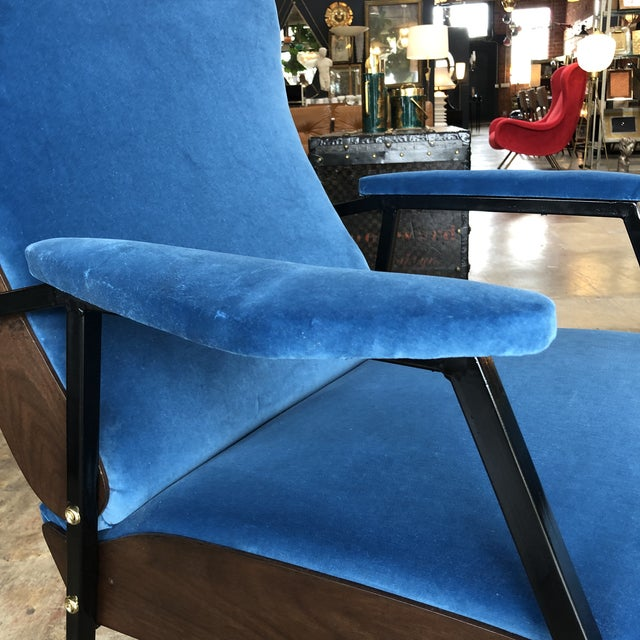 Lounge Armchairs in Wood and Blue Suede, Italy 1950s - a Pair For Sale In Los Angeles - Image 6 of 11