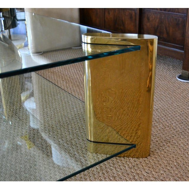 Gold Karl Springer Mid-Century Modern Brass & 2-Tier Glass Coffee Table, Signed For Sale - Image 8 of 13