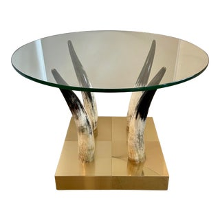 Brass, Horn, Glass Side Table From 70's For Sale