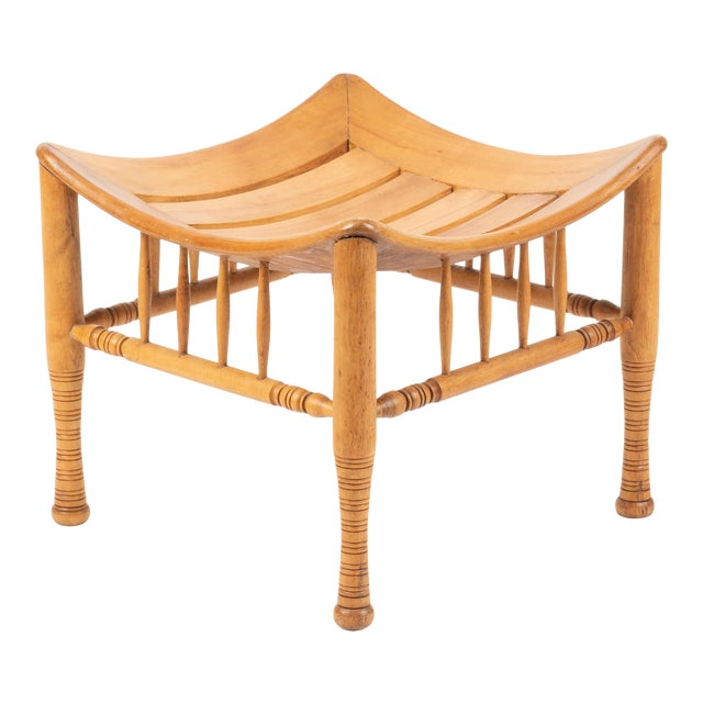 Late 19th Century American Egyptian Revival Birch Thebian Stool For Sale