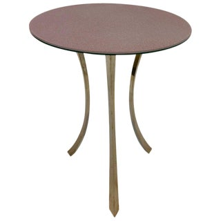 Bronze and Glass Tri-Pod Occasional Table For Sale