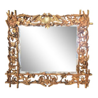 19th Century Black Forest Hand Carved Mirror For Sale
