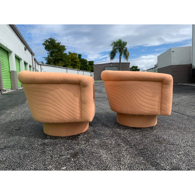 1970s Milo Baughman Style Tufted Swivel Lounge Chairs - a Pair For Sale In Miami - Image 6 of 13