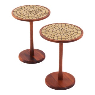 Vintage Mid Century Modern for Marshall Studios Green Tile Martz Occasional Tables - Set of 2 For Sale