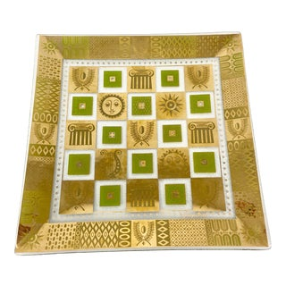 Georges Briard Mid Century Celeste Gold and Green Plate For Sale