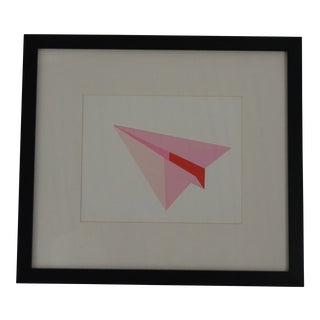 Pink Paper Plane in Black Frame With White Mat
