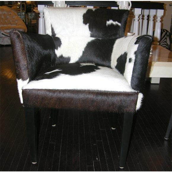 Modern Pair of Custom Black and White Spotted Cowhide Deco Chairs For Sale - Image 3 of 8