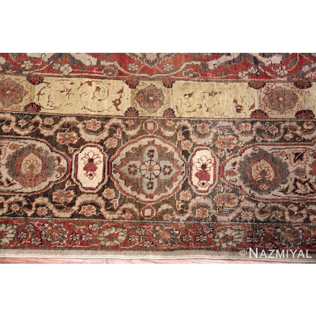 Room Size Antique Persian Tabriz Rust Color Rug - 10′7″ × 14′5″ For Sale - Image 4 of 11