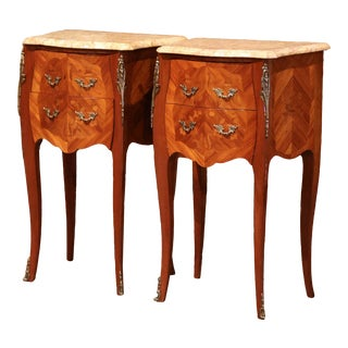 Pair of Midcentury Louis XV Marquetry Bombe Nightstands With Marble Top For Sale