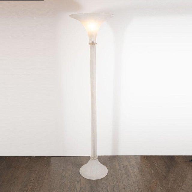 Seguso Mid-Century Venetian Glass Floor Lamp Documented by Karl Springer for Seguso For Sale - Image 4 of 10