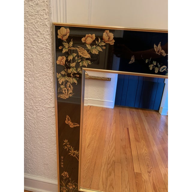 1980s LaBarge Chinoiserie Style Eglomise Black Mirror For Sale - Image 5 of 10