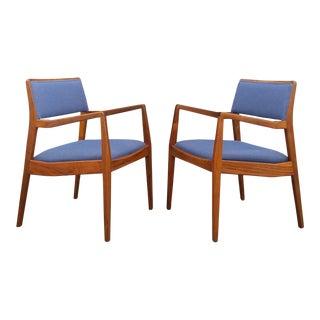 1960s Jens Risom Walnut Armchairs - A Pair