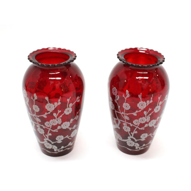 Vintage Etched Cranberry Red Glass Vases - A Pair - Image 5 of 5