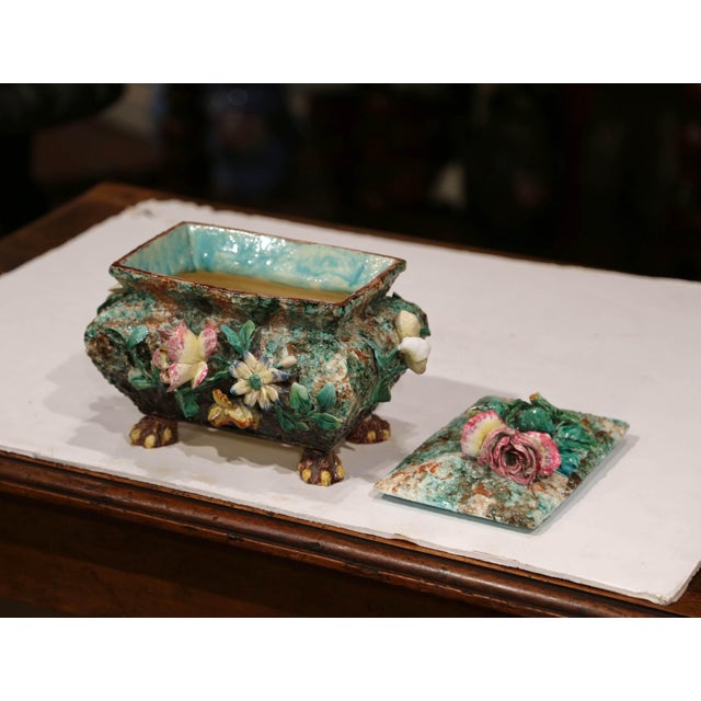 French 19th Century French Painted Ceramic Barbotine Decorative Box With Floral Motif For Sale - Image 3 of 11