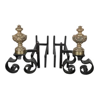 Pair of 18th Century Baroque Brass and Hand Forged Iron Chenets or Andirons For Sale