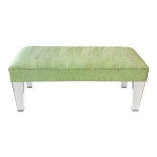Vintage Shlomi Haziza Modern Sitting Bench in Acrylic + Suede For Sale