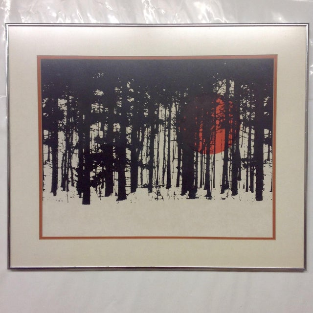 Monochrome Forest Screen Print with Red Sun - Image 3 of 6