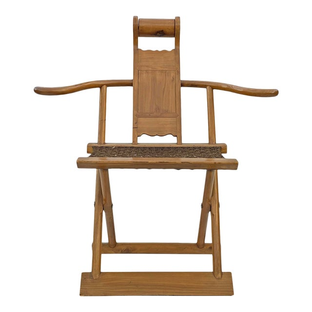 Chinese Elm Wood Wool Seat Wide Arm Folding Armchair For Sale