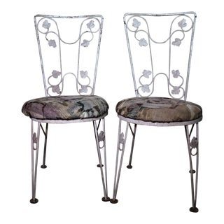 Vintage Iron Leaf Design Patio Chairs - A Pair For Sale