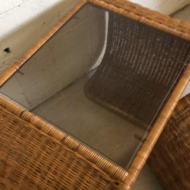 Vintage Wicker Glass Top Waterfall Side Tables - a Pair For Sale - Image 9 of 11