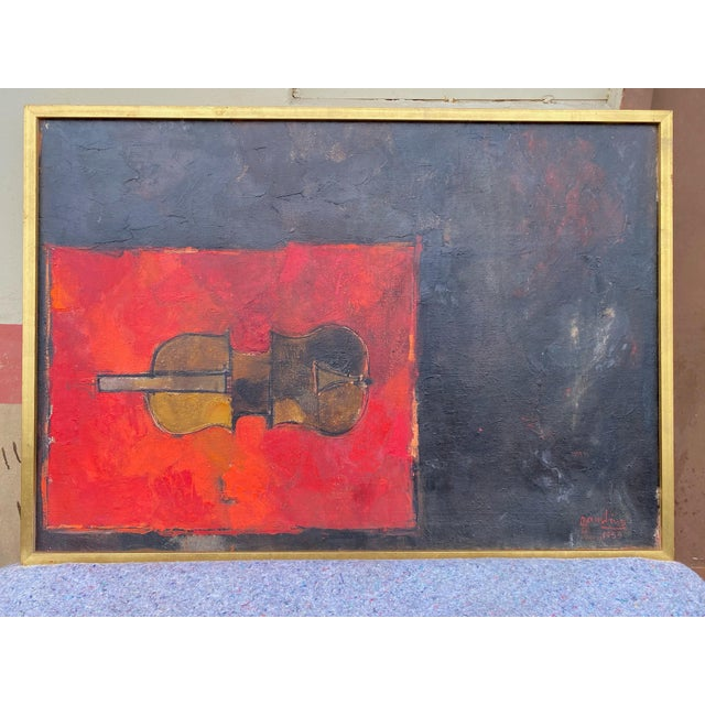 Well known listed artist Giuseppe Gambino's mid century modern oil on canvas signed and dedicated on the back. In very...