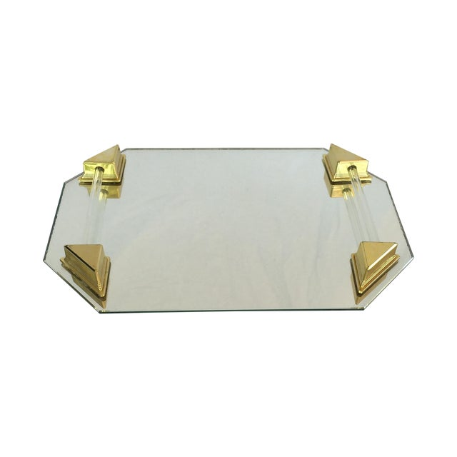 Vanity Tray With Lucite and Faux Brass Handles - Image 1 of 7